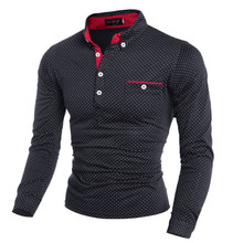 2019 New Spring Fashion Mens Dot Long Sleeve polo Shirts Stand Collar Male solid