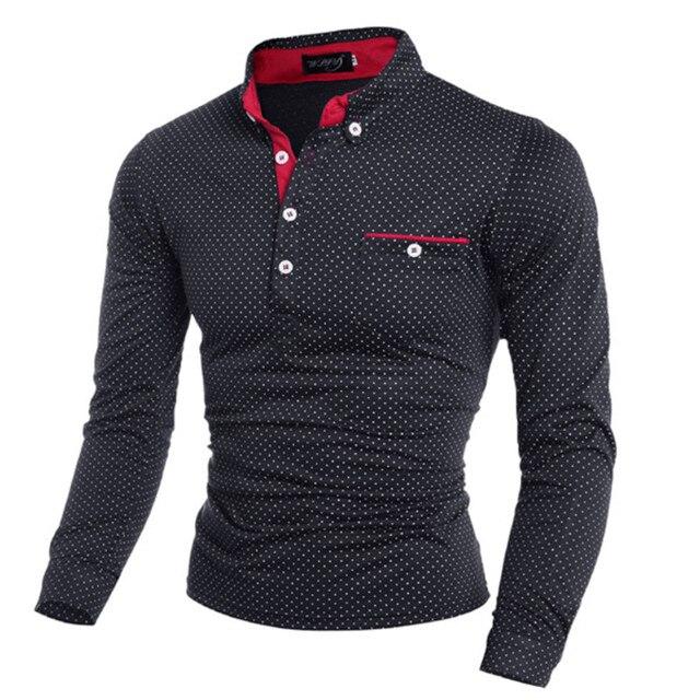 2019 nueva moda Primavera hombre Dot manga larga camisas de polo Collar  hombre sólido Polo camiseta 472222bd99b