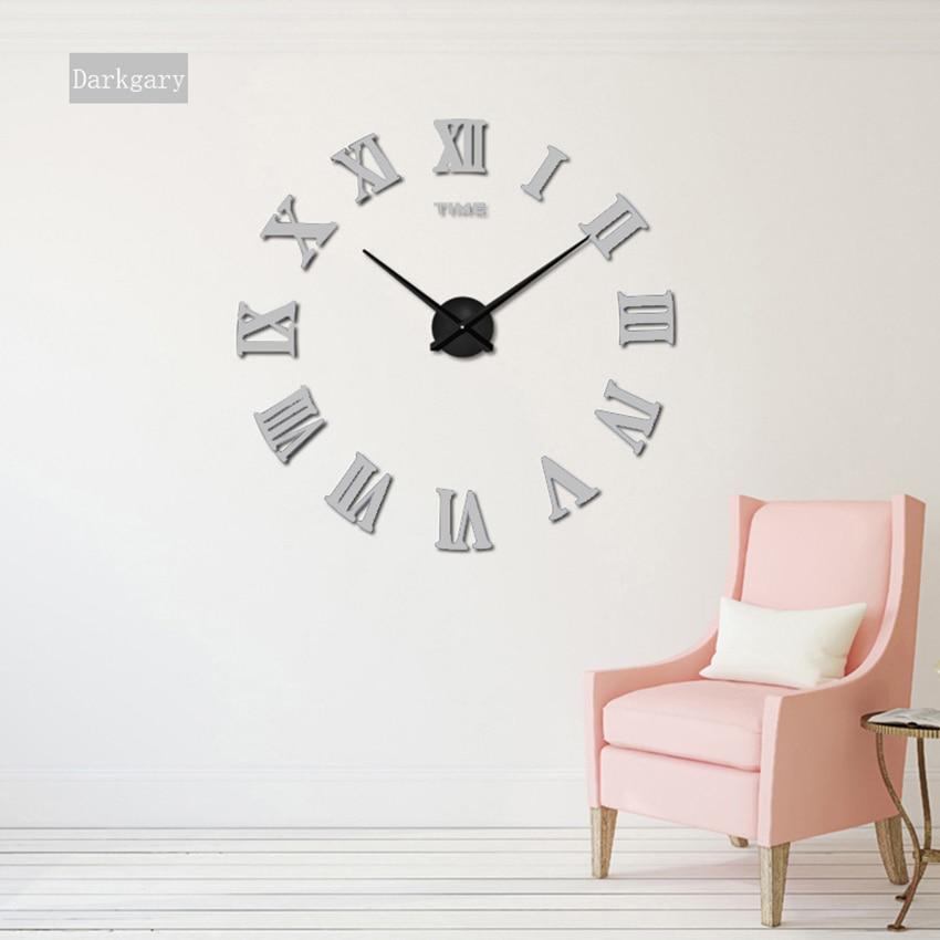 2018 nove velike rimske stenske ure akrilno ogledalo diy ure doma - Dekor za dom - Fotografija 4