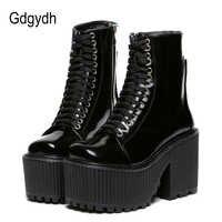 Женские ботильоны на платформе Gdgydh, черные весенне-осенние ботинки на резиновой подошве, на шнурках, в стиле «панк»