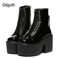 Gdgydh/Модные женские ботильоны на платформе; обувь в стиле панк готик; обувь на резиновой подошве со шнуровкой; Цвет Черный; сезон весна-осень; ...