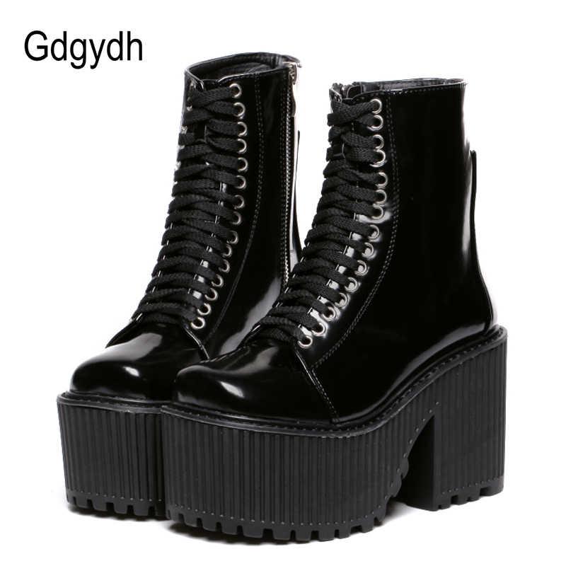 Gdgydh Moda yarım çizmeler Kadınlar Için platform ayakkabılar Punk Gotik Tarzı Kauçuk Taban Lace Up Siyah Bahar Sonbahar Tıknaz Çizmeler Kadın