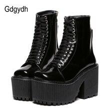Gdgydhแฟชั่นข้อเท้ารองเท้าสำหรับสตรีรองเท้าPunkสไตล์โกธิคLace Upสีดำฤดูใบไม้ผลิฤดูใบไม้ร่วงChunkyรองเท้าผู้หญิง