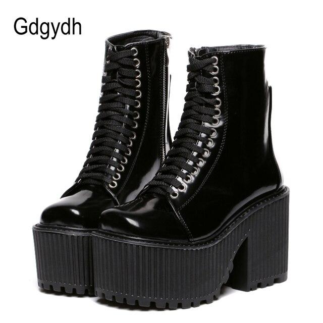 Gdgydh moda botki dla kobiet buty na koturnie Punk Gothic styl gumowa podeszwa zasznurować czarne wiosna jesień Chunky buty kobieta