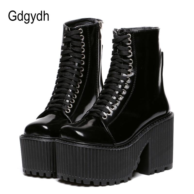 Gdgydh mode bottines pour femmes plate-forme chaussures Punk gothique Style caoutchouc semelle à lacets noir printemps automne Chunky bottes femme