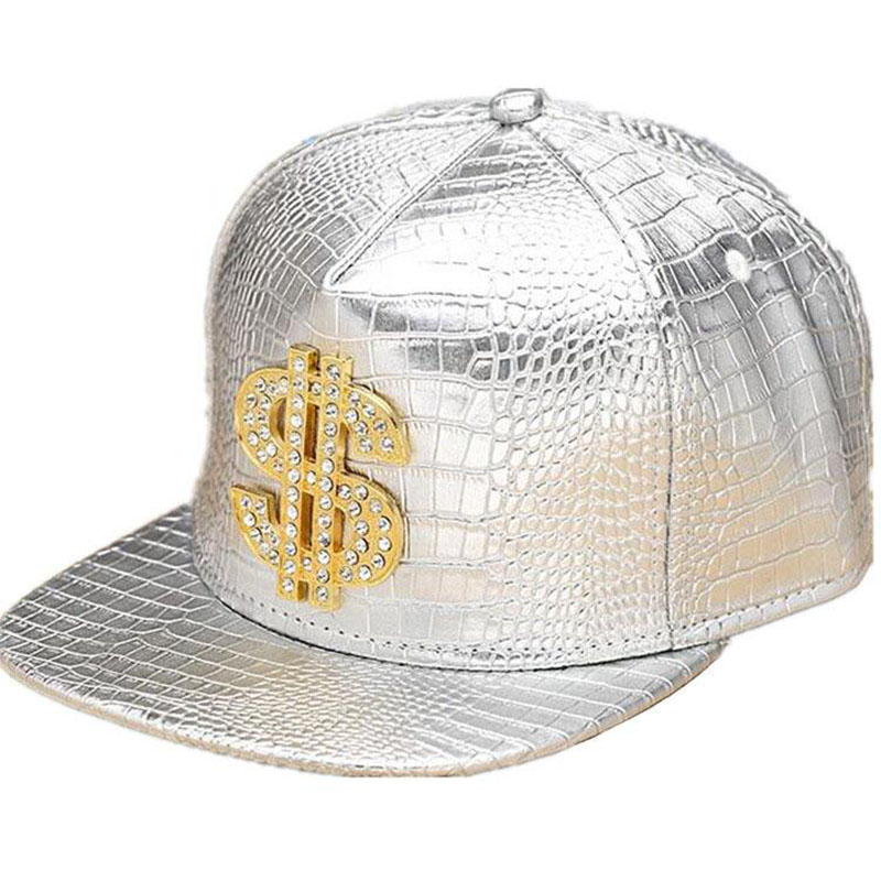 HTB1B6XUPCzqK1RjSZFLq6An2XXa3 - Faux Leather Baseball Caps Gold Dollar $ Logo With Bling Hiphop Gorras Snapback Hat Adjustable Fashion Cool Casquette For Unisex