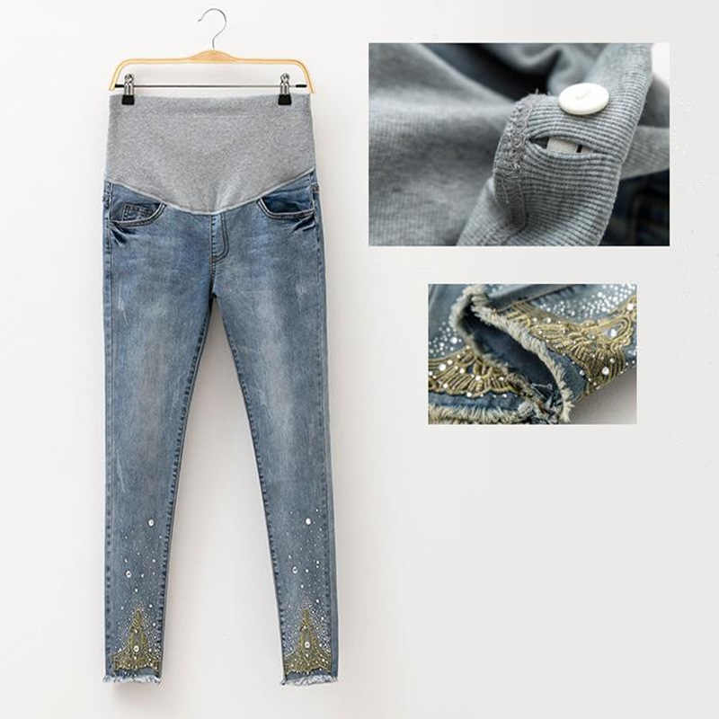 786c7aeac89b2 2018 Spring Jeans Maternity Pregnant Women Pants Fashion Hot Beads Maternity  Pants Pregnant Trousers Maternity Pregnant