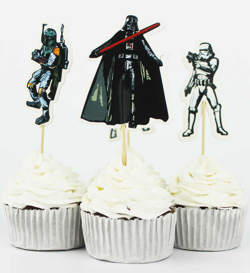 Astounding 24Pcs Lot Cake Toppers Birthday Cake Star Wars Party Supplies Birthday Cards Printable Giouspongecafe Filternl