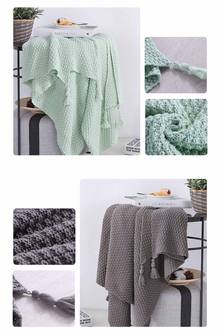 Free Shipping Christmas Gift Nordic Solid Color Multi Purposed Knitted  Cotton Throw Blanket Wrap Photography Props With Fringe In Throw From Home  U0026 Garden ...