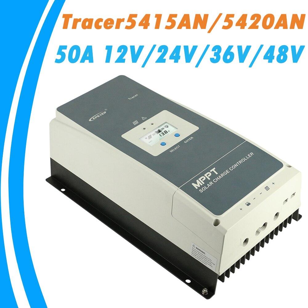 EPever MPPT 50A de Charge Solaire Contrôleur 12 V 24 V 36 V 48 V Rétro-Éclairage LCD pour Max 200 V PV Entrée En temps Réel D'enregistrement 5415AN 5420AN