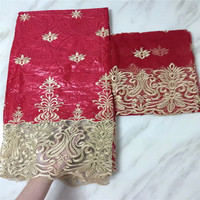 5 Yards+2 Yards India Bazin Riche Getzner Lace Fabric 2017 With Blouse Beaded Gold Line Embroidered Lace Basin Fabric!PL060301