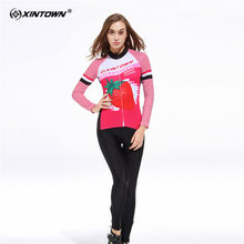 XINTOWN Anti sweat Strawberry Long Sleeve Cycling Jersey Set MTB Bike Clothing Bicycle Jerseys Clothes Maillot