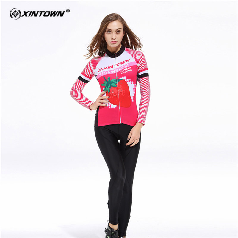 XINTOWN Anti sweat Strawberry Long Sleeve font b Cycling b font font b Jersey b font