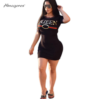 Almagores Women Casual T shirts Dress Letter Print Striped Women T Shirts Sexy Bodycon Club Shirts Dresses Long Tees Female