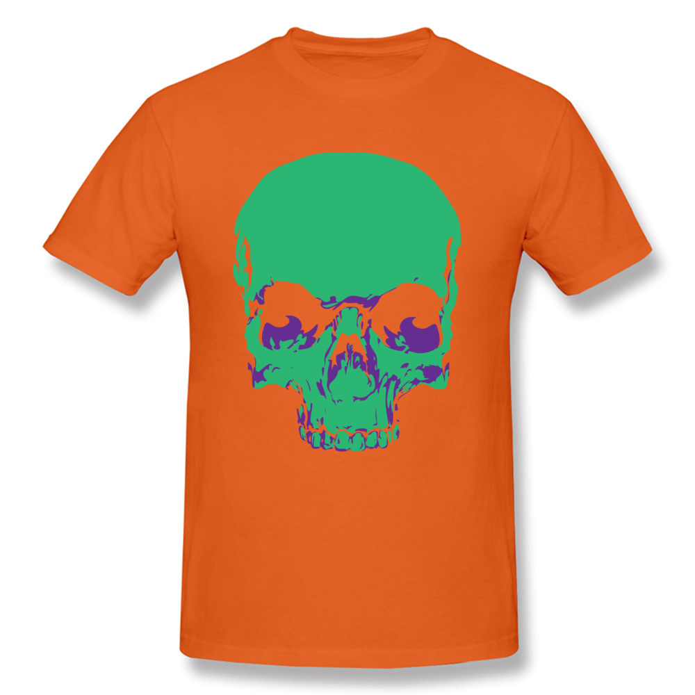 Male Fashionable Design Tops & Tees Crew Neck Summer All Cotton Tshirts Funny Short Sleeve Skull green T-Shirt Skull green orange