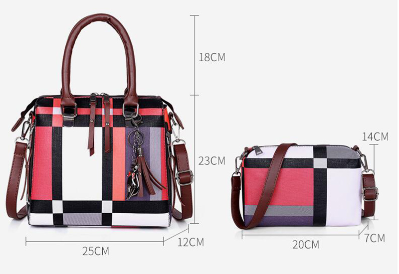 Women's Handbag Plaid with tassel Set of 4 pieces (TWH25) Handbag 23 x 12 x 25 Shoulder bag 14 x 7 x 20 Coin holder  Card holder