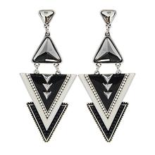 2016 Newest Fashion Ethnic Triangle Earrings Enameling Beads Chunky Crystal Simulated Gemstone Pendant Earrings for Women Girls