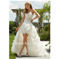 sexy White/ivory short front and long back see through corset with crystal wedding dress/bridal gown free shipping 2 4 6 8 10 12