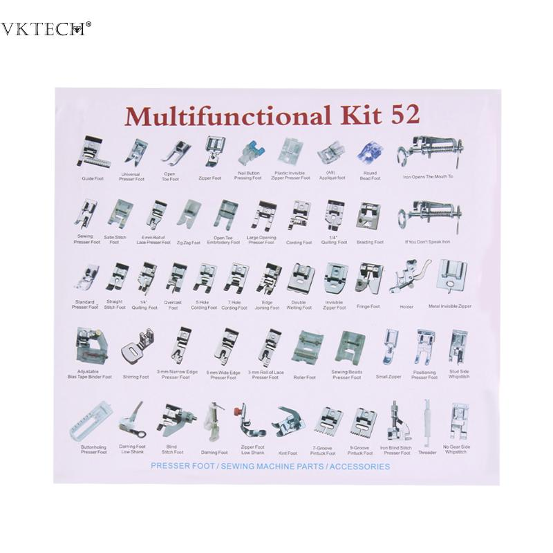 52Pcs Multi-function Sewing Accessories Sewing Machine Presser Feet Set Braiding Blind Stitch Darning Presser Foot Feet Parts
