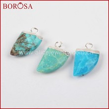 BOROSA Clearance Sale 10PCS Silver Color Natural Blue Stone Druzy Faceted Horn Charm for Earrings Jewelry for Women S1368(China)