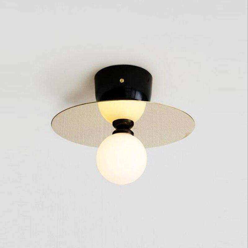цена на Nordic Loft Art Led Ceiling Lights Creative Copper Gold Study Aisle Bar Light Italy Designer Ceiling Lamp Free Shipping
