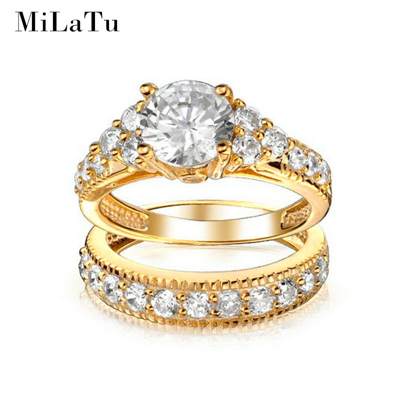 Milatu Luxury Bridal Wedding Ring Sets Gold Color Cubic