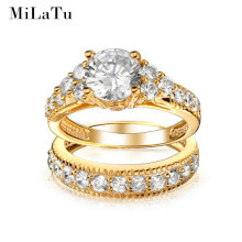 MiLaTu Luxury Bridal Wedding Ring Sets Gold Plated CZ Diamond-jewelry Engagement Ring Set For Women Best Christmas Gift R168TJ