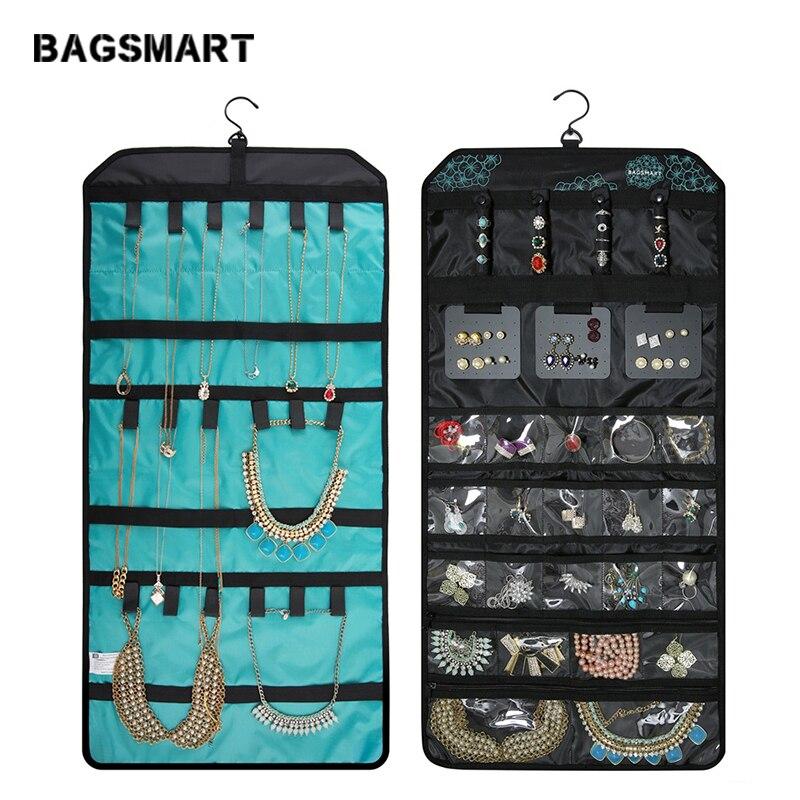 BAGSMART accessoires de voyage sac à bijoux roulant porte-collier boucle d'oreille anneau pochette Bracelet montre bijoux sacs voyage dans le sac à main