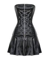 Gothic black faux leather zipper corset dress steampunk waist cincher bustier clubwear clothing with mini skirt+chains