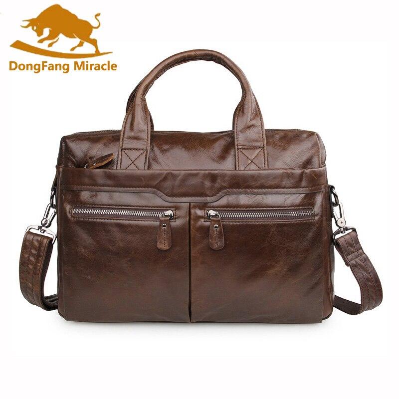 DongFang Miracle New 100 Genuine Leather Men s Handbag Shoulder Messenger Bag Laptop Briefcase Casual Business