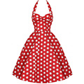 Womens Red Blue Black Polka Dot Retro Halter Backless Dress Vintage 40s 50's 60s Hepburn Style Rockabilly Swing Party Dresses