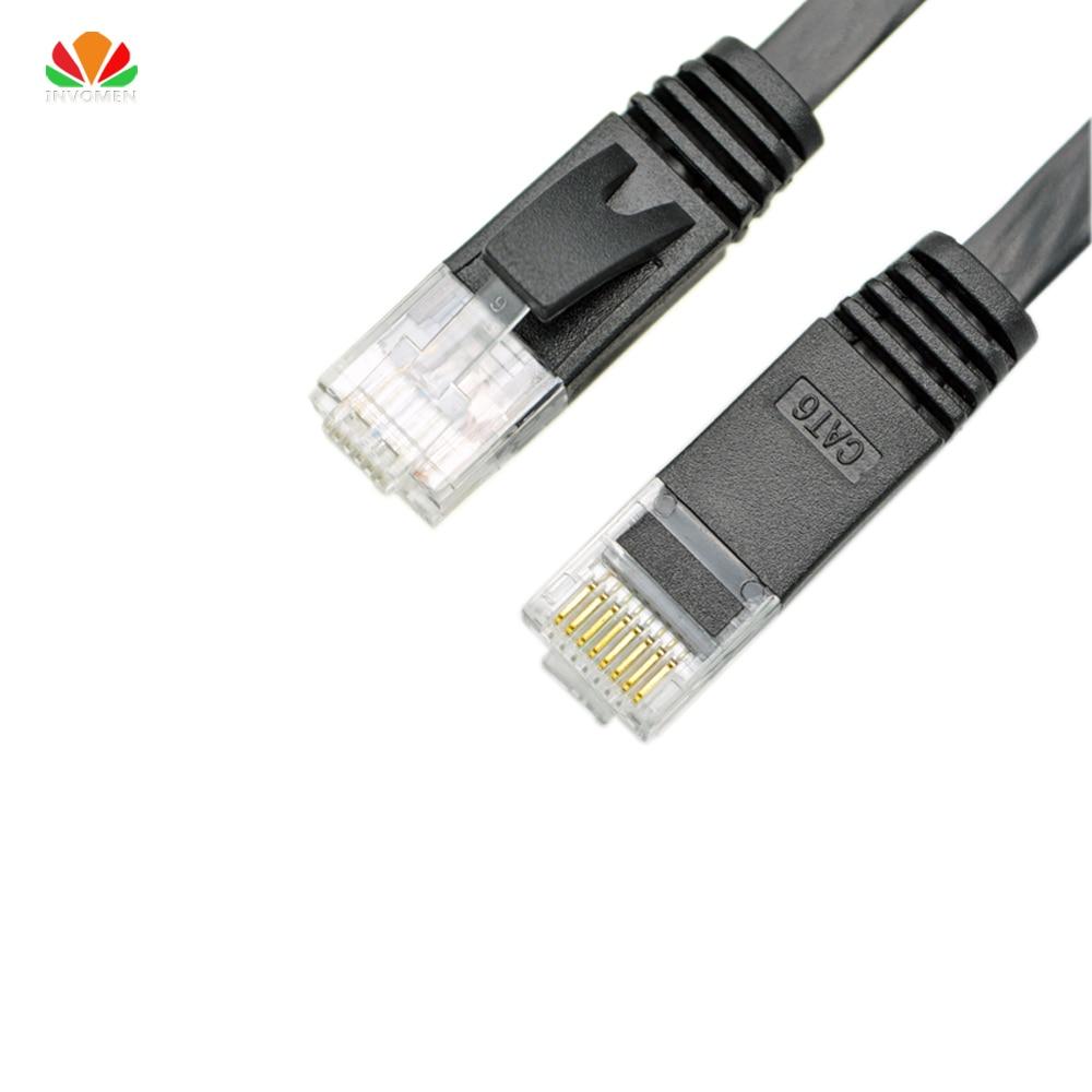 10ft 3m dzīvoklis UTP CAT6 tīkla kabelis Datoru kabelis Gigabit Ethernet Patch Cord RJ45 adapteris vara vītā pāra GigE LAN kabelis