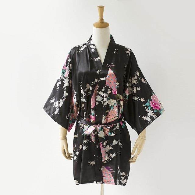 3c15557b18c4 Noir Nouveau Dames Sexy Satin Robe Robe Femmes Impression Chemise De Nuit  Kimono Bath Robe Avec