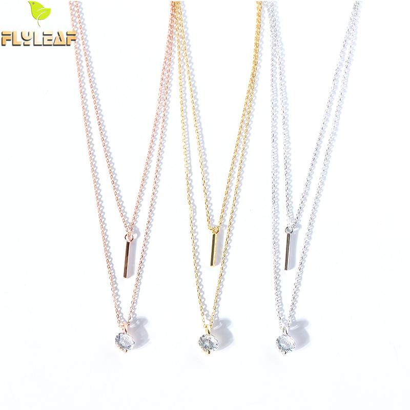 Flyleaf Double Chain Zircon Strip Necklaces & Pendants For Women 925 Sterling Silver Student Girl Gift Jewelry