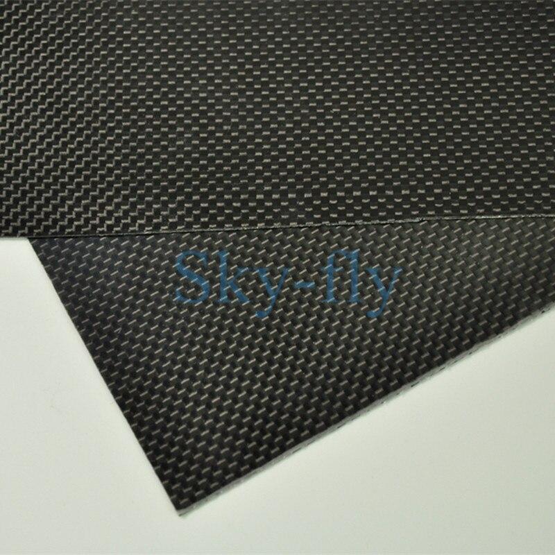 1 feuille 0.3mm 100% plaque de Fiber de carbone panneau feuille 3 K armure toile brillante chaude multi-taille