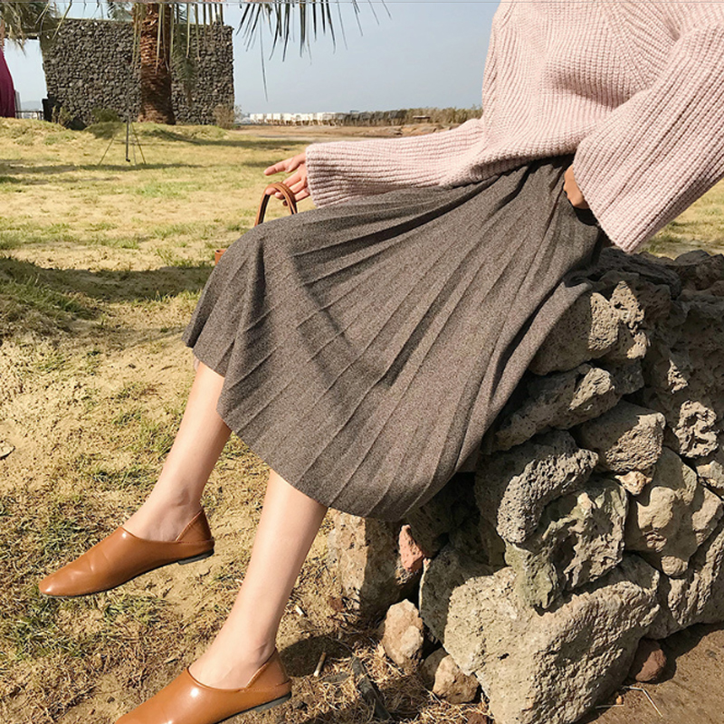 Autumn And Winter Casual High Waisted A-Line Skinny Female Velvet Solid Skirt Pleated Skirts Mid-Calf