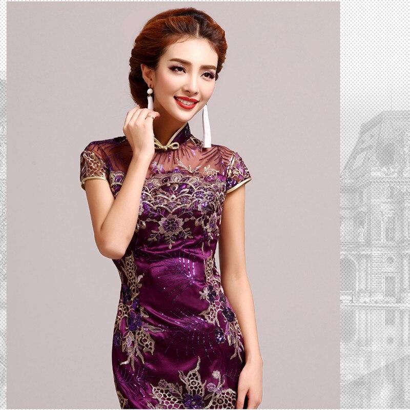 Pakaian Musim Sejuk Cheongsam Cina Tradisional Pakaian Sutera Satin - Pakaian kebangsaan - Foto 3