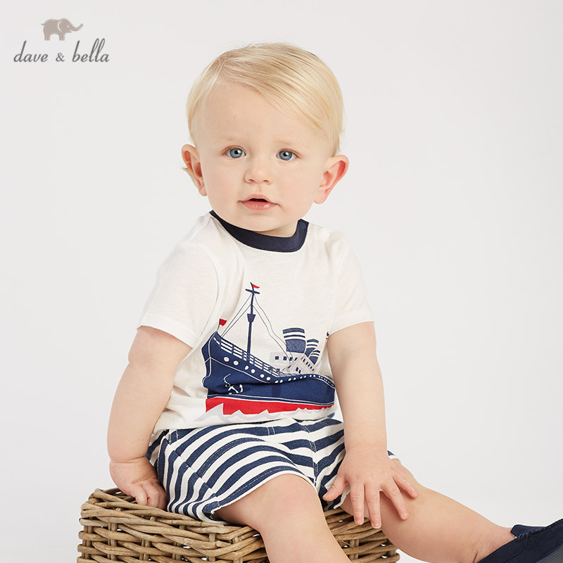 DB10466 dave bella summer baby boys fashion clothing sets casual short sleeve suits children steamboat print