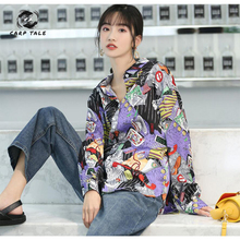 Design sense of small loose shirt female street style 2019 spring and autumn new Hong Kong long-sleeved printed tide