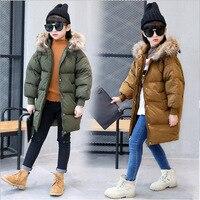 New Children School Kids Girl Long Jacket Real Fur Hooded Duck Down Fluff Kids Coat Thickening