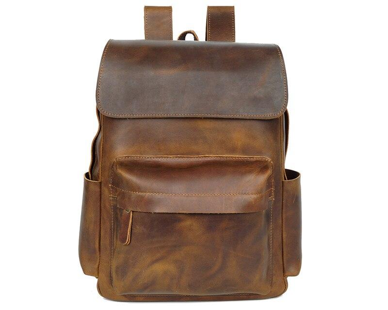 Nesitu Высокое качество Большой Винтаж коричневый толстый кошелек из натуральной кожи мужские рюкзаки Crazy Horse Кожаные мужские дорожные сумки # M8090