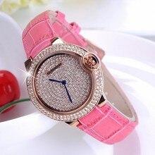 Nuevo Lujo rhinestone lleno dial mujeres reloj de la marca de las señoras banda de Cuero Genuino reloj de cuarzo mujeres reloj famoso relojes de pulsera