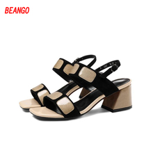 BEANGO 2017 Summer Sweet Sexy Girl Ankle Buckle Strap Square Toe High Heels Peep-Toe Women Thick Heel Sandals Woman Rome Shoes