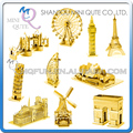 Piece Fun world architecture Metal Puzzle Golden Big Ben Eiffel Tower Ferris Wheel London Tower Bridge Windmill educational toy
