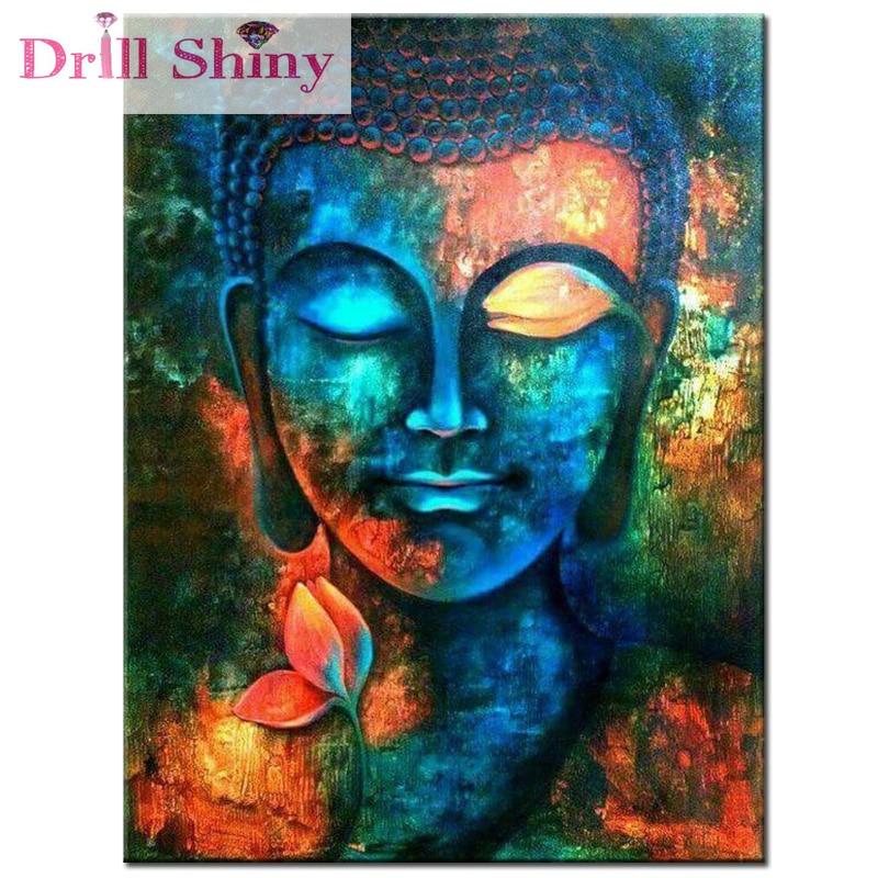 DIY Diamantbroderi Buddha Religiöst 5D Diamantmålning Korsstygn - Konst, hantverk och sömnad