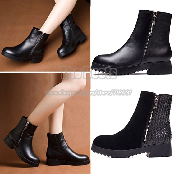 Vintage Flat Platform Low Heel Zipper Black Women'S Genuine ...