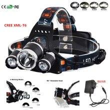 5000Lm Headlamp CREE Xml T6  Flashlight Head Torch Linterna  With Fishing Light +Charger