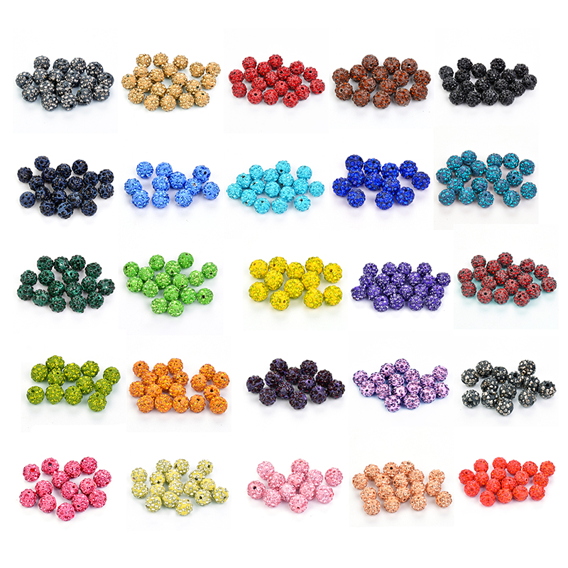 50pcs Dia 10mm 32 Colors Shamballa Beads Crystal Disco Ball Beads Shambhala Spacer Beads Shamballa Bracelet Crystal Clay Beads Discounts Sale Beads Jewelry & Accessories