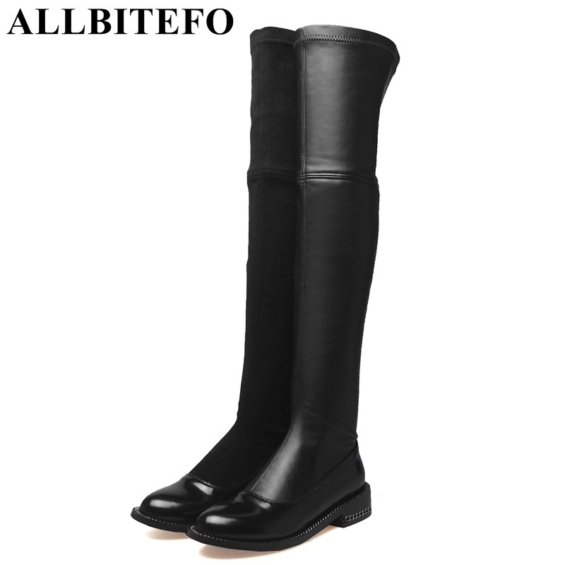 ALLBITEFO new arrive genuine leather+Stretch material thick heel women boots brand low-heeled mixed colors over the knee boots allbitefo full genuine leather mixed colors chains design fashion brand women knee high boots winter snow zip women boots