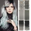 Grey Hair Extension Heat Resistant Fiber Synthetic Clip In Hair Extensions Black To Gray Women Hair Piece